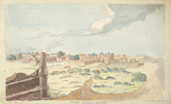 f.24   'Soneput. Vide Asiatic Annual Register.  A.D. 1800.  Miscellaneous  Tracts.  p. 128.  Ensign J.T. Blunt, B.E. fecit' (espy. p.147).  Landscape with ruins.